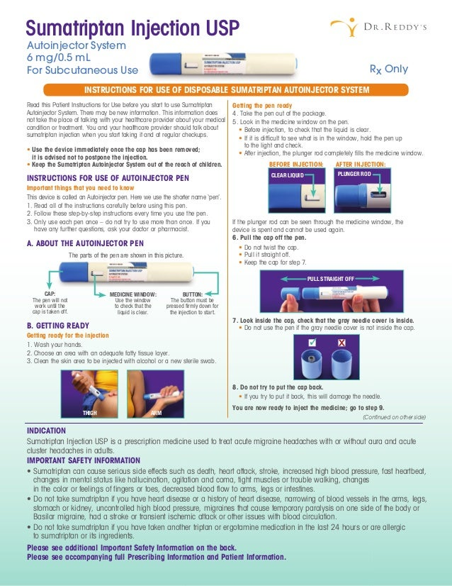 Instructions For Use Of Disposable Sumatriptan Autoinjector System