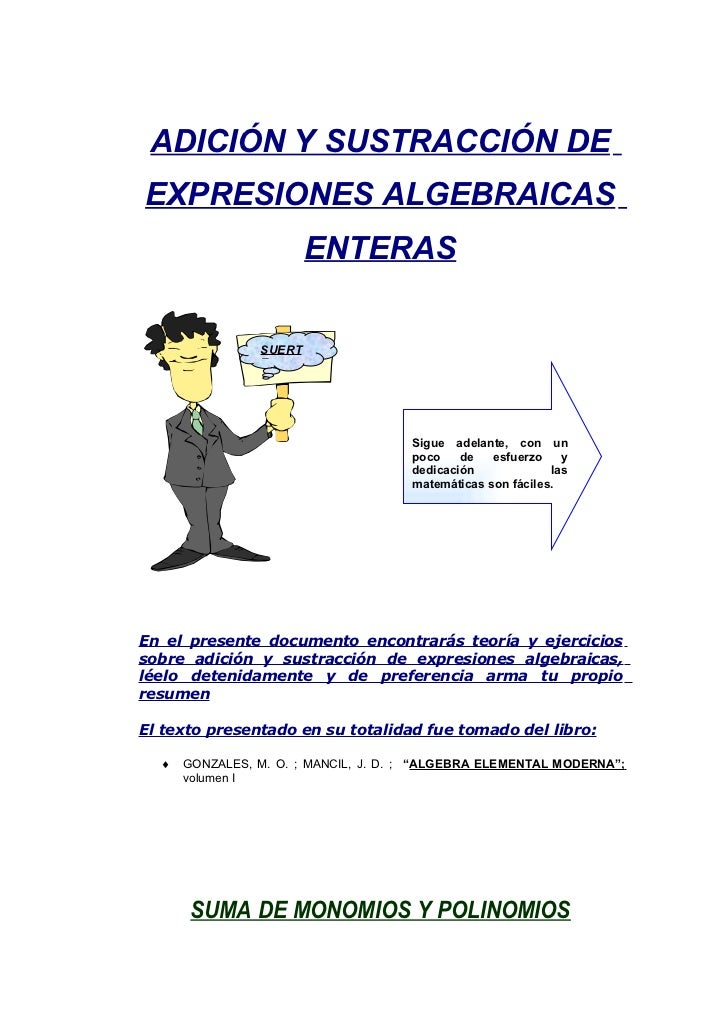 ADICIÓN Y SUSTRACCIÓN DE EXPRESIONES ALGEBRAICAS                         ENTERAS                  SUERT                 E ...