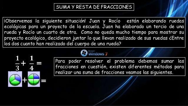 SUMA Y RESTA DE FRACCIONES ¡Observemos la siguiente situación! Juan y Rocío están elaborando ruedas ecológicas para un pro...