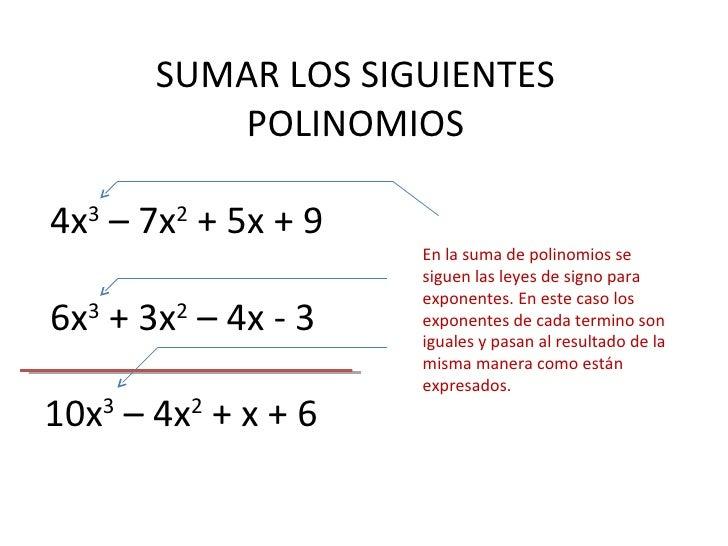 SUMAR LOS SIGUIENTES POLINOMIOS 4x 3  – 7x 2  + 5x + 9 6x 3  + 3x 2  – 4x - 3 10x 3  – 4x 2  + x + 6 En la suma de polinom...