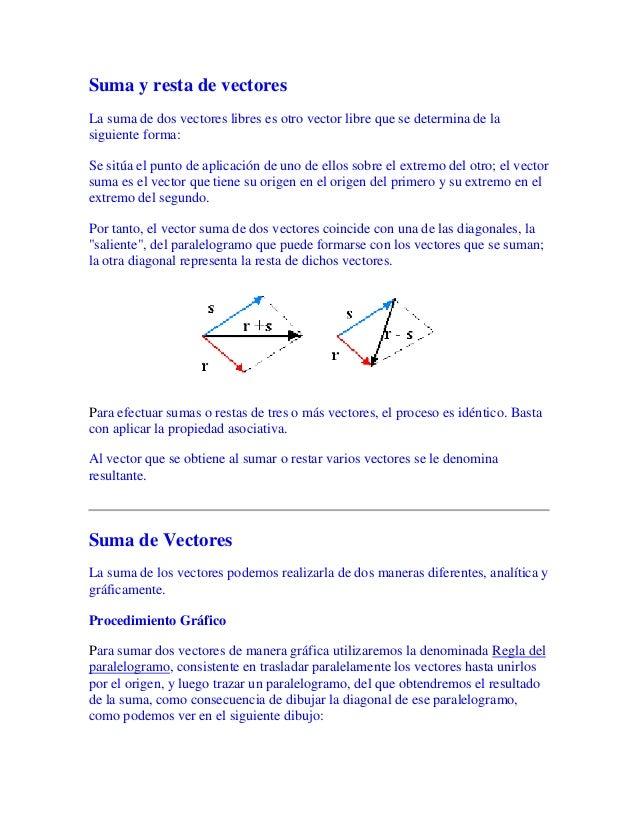 Suma y resta de vectores La suma de dos vectores libres es otro vector libre que se determina de la siguiente forma: Se si...