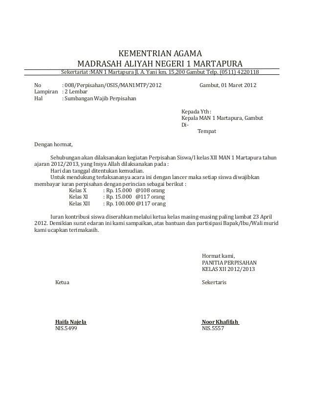 contoh surat sumbangan wajib perpisahan