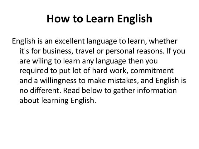 How to learn spoken english