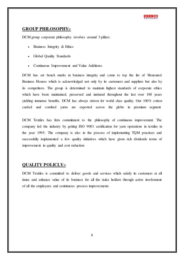 ethicsa report on sitara textie Sitara textile industries limited business ethics table of content: name page # acknowledgement 3 executive summary 4 introduction of organization 5, 6.