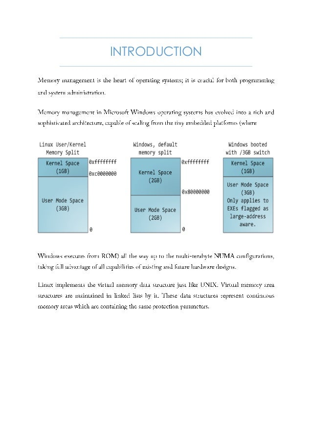 differences in memory management between windows and linux essay Comparison of memory management systems of bsd, windows, and linux gaurang khetan  systems - bsd 44, linux 24 and windows 2000 bsd 44 was chosen since it is a representative unix  takes care of memory management at the lowest level, generally taking care of the different meth-.