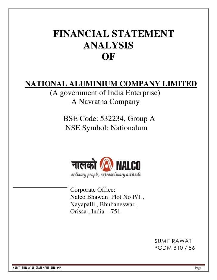 FINANCIAL STATEMENT                                  ANALYSIS                                     OF          NATIONAL ALU...