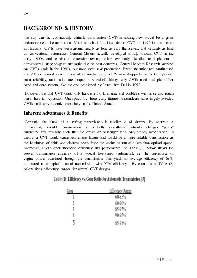 A report on seminar topic CVT