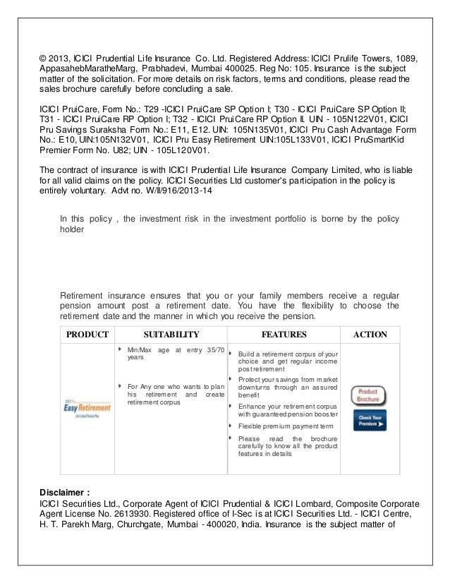 project report on icici pru Icici prudential life insurance plans icici prudential life insurance has won the first prize for its project on icici pru life closed its fy 2014-15 with the.