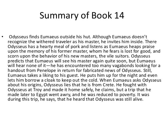 The odyssey book 14 summary