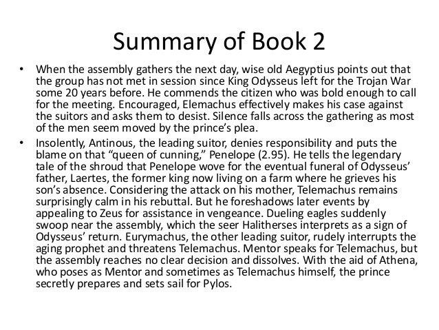 The odyssey book 2 summary