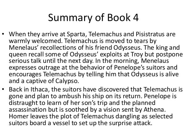 Summary of book 4 the odyssey