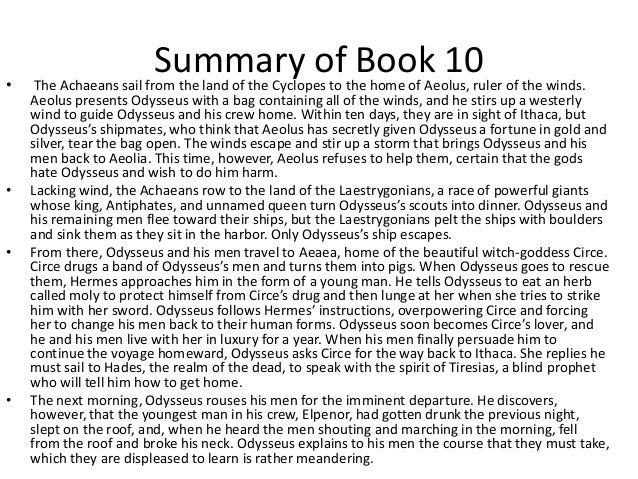 Summaries of the odyssey