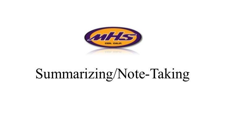 Summarizing/Note-Taking