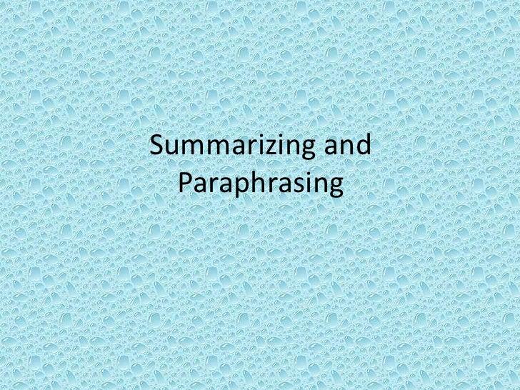 Summarizing and paraphrasing powerpoint 6th grade