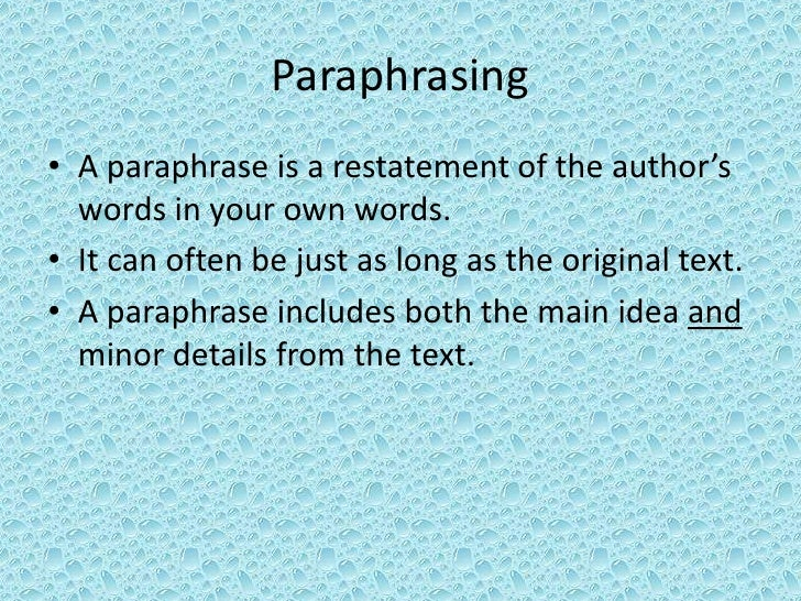 Online paraphrasing and summarizing