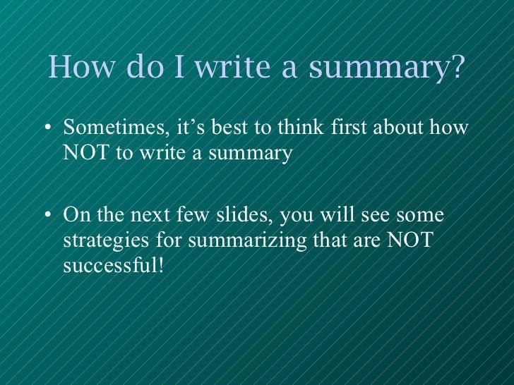 How to write a plot summary