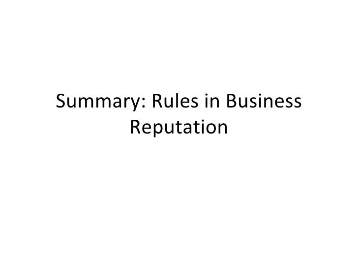 Summary: Rules in Business Reputation