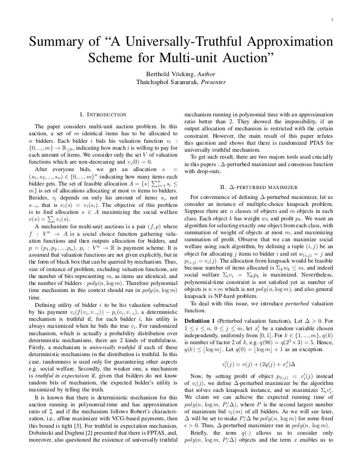 """1Summary of """"A Universally-Truthful Approximation        Scheme for Multi-unit Auction""""                                   ..."""