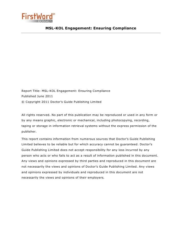 Medical Science Liaison (MSL) and KOL Regulatory Compliance Slide 2