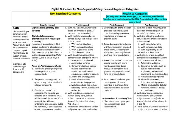 Digital Guidelines for Non-Regulated Categories and Regulated Categories Non-Regulated Categories Regulated Categories (5 ...