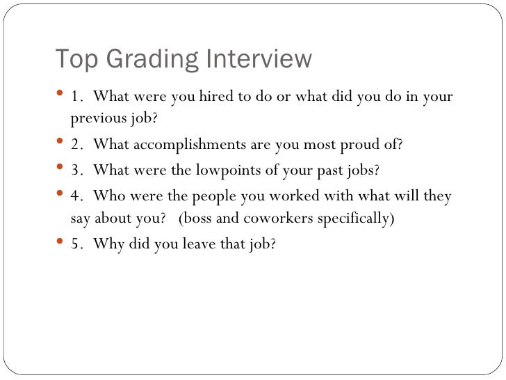 ... 15. Top Grading Interview ...