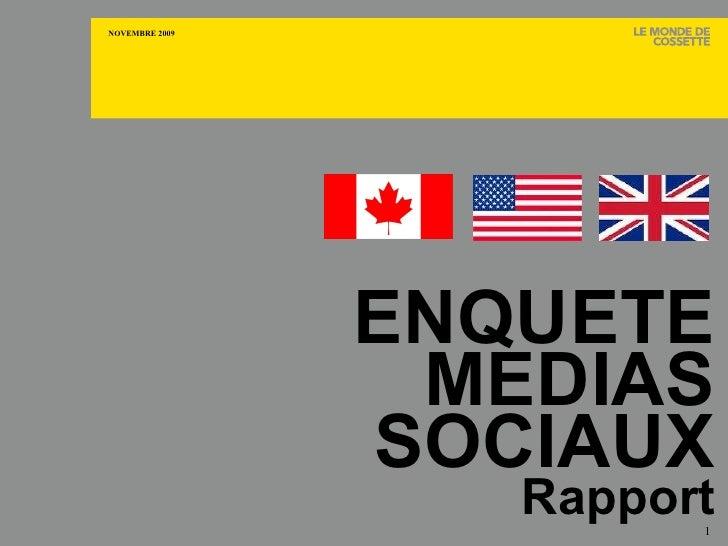 ENQUÊTE MÉDIAS SOCIAUX Rapport CANADA