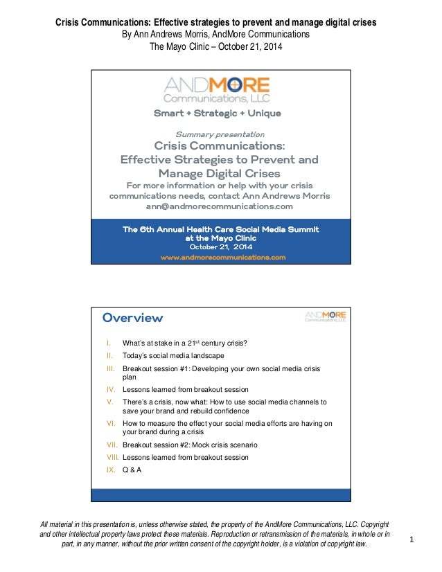 Crisis Communications: Effective strategies to prevent and manage digital crises  By Ann Andrews Morris, AndMore Communica...