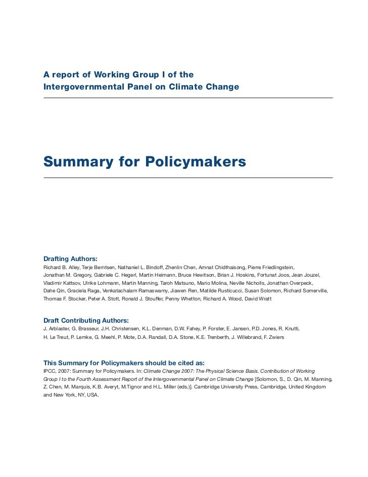 A report of Working Group I of theIntergovernmental Panel on Climate ChangeSummary for PolicymakersDrafting Authors:Richar...