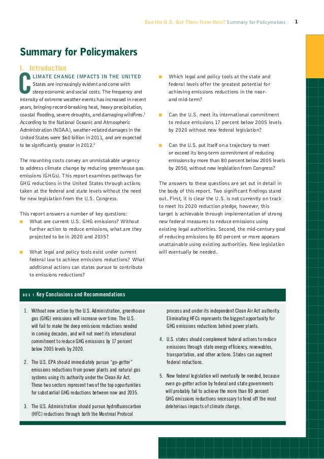 Can the U.S. Get There from Here? Summary for Policymakers              1Summary for PolicymakersI.IntroductionC         ...