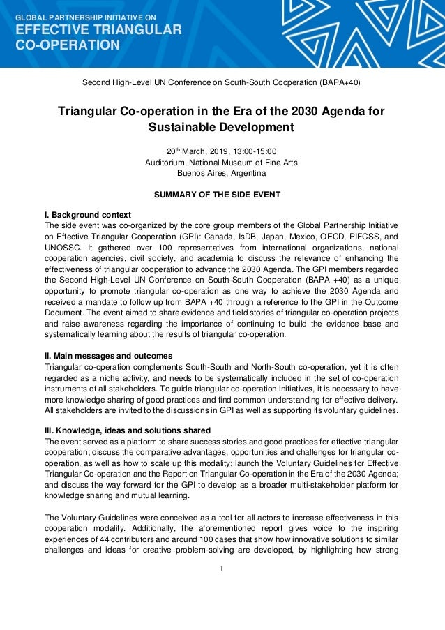 1 GLOBAL PARTNERSHIP INITIATIVE ON EFFECTIVE TRIANGULAR CO-OPERATION Second High-Level UN Conference on South-South Cooper...