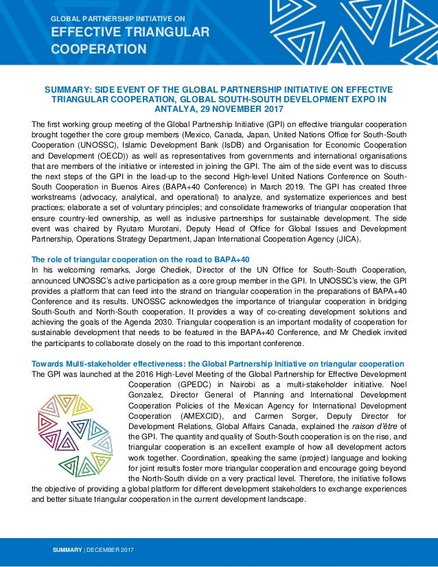 SUMMARY | DECEMBER 2017 SUMMARY: SIDE EVENT OF THE GLOBAL PARTNERSHIP INITIATIVE ON EFFECTIVE TRIANGULAR COOPERATION, GLOB...