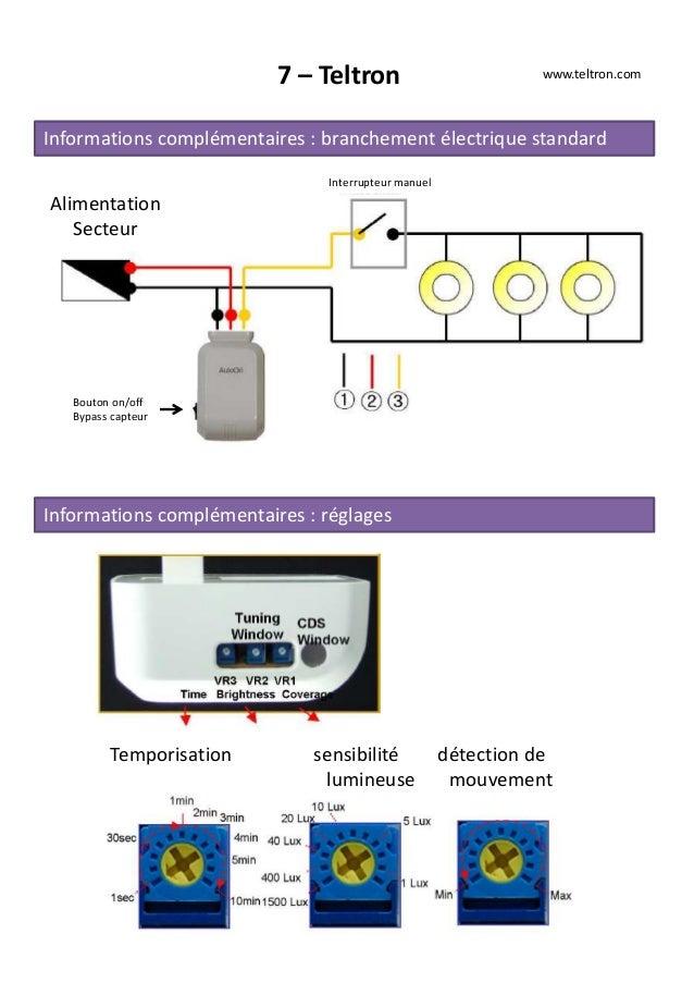 7 – Teltron www.teltron.com Informations complémentaires : branchement électrique standard Alimentation Secteur Interrupte...