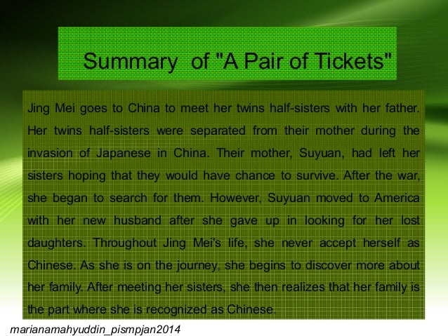 a pair of tickets essay