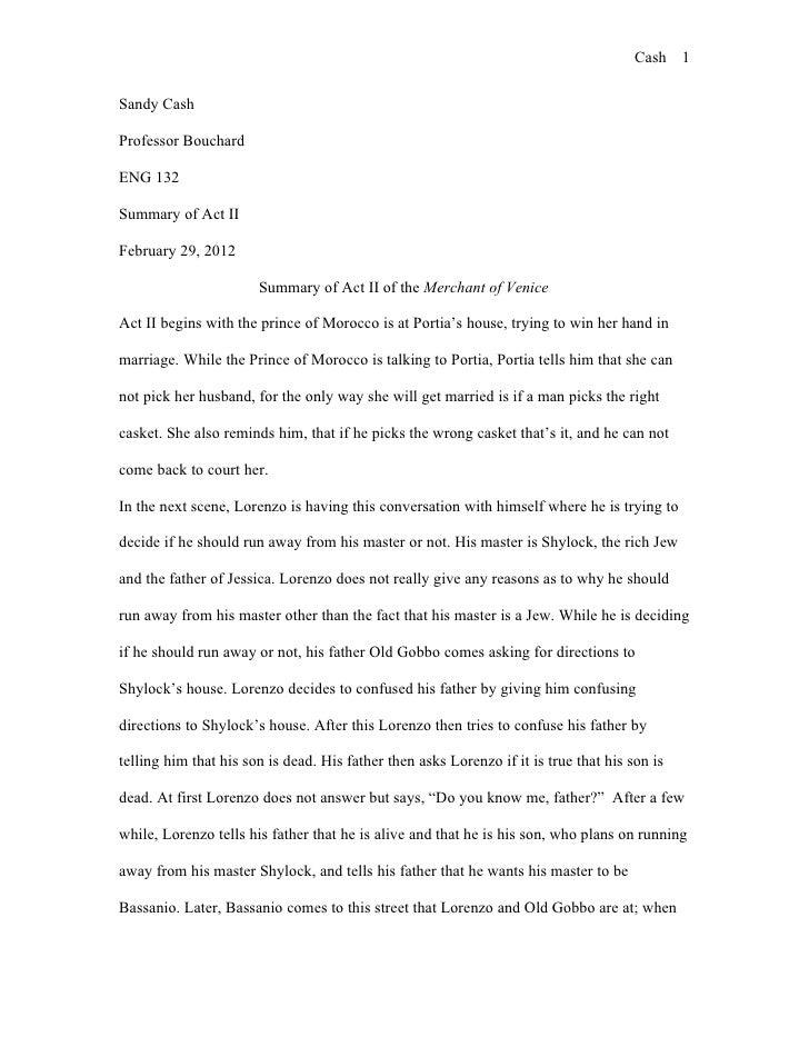 Cash 1Sandy CashProfessor BouchardENG 132Summary of Act IIFebruary 29, 2012                       Summary of Act II of the...