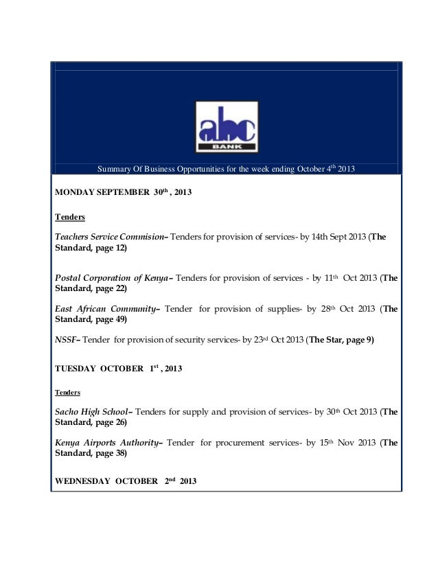 Summary Of Business Opportunities for the week ending October 4th 2013 MONDAY SEPTEMBER 30th , 2013 Tenders Teachers Servi...