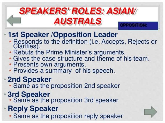 first speaker debate template - summary of debate