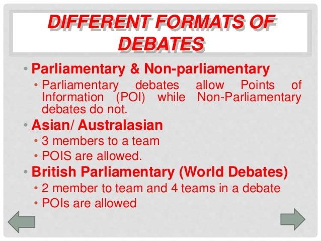 con side debate summary Sometimes there is a second pro and second con speech to summarise the points made and end the debate round in different formats, there may be three or four speakers, depending on which organisation you work with.