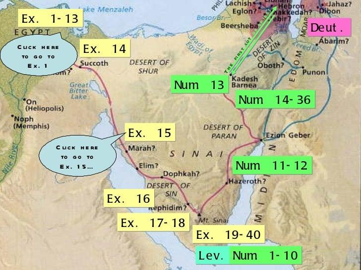 Ex. 1-13 Ex. 14 Ex. 15 Ex. 16 Ex. 17-18 Ex. 19-40 Lev. Num. 1-10 Num. 11-12 Num. 13 Deut. Num. 14-36 The first lot  of spi...