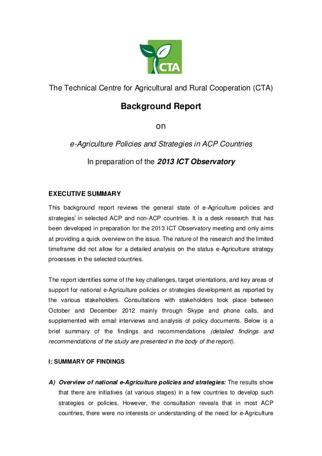 The Technical Centre for Agricultural and Rural Cooperation (CTA)Background Reportone-Agriculture Policies and Strategies ...