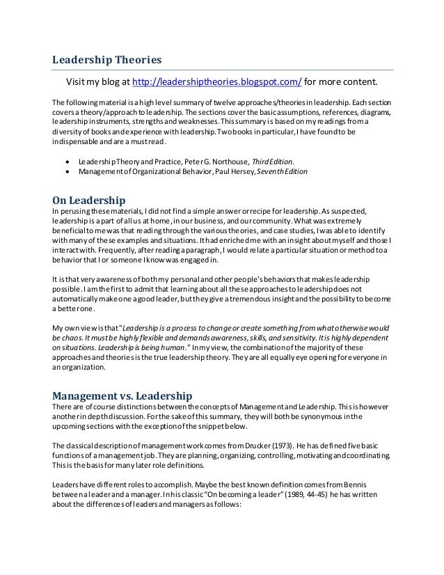 leadership theory analysis summary The present film review and analysis connects to leadership theory and  to the  general audience along with the film being a character study in addition to a war .