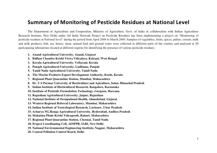Summary of Monitoring of Pesticide Residues at National Level        The Department of Agriculture and Cooperation, Minist...