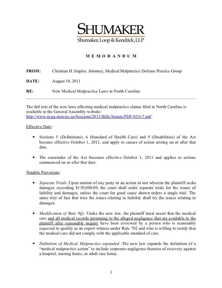 M E M O R A N D U MFROM:          Christian H. Staples, Attorney, Medical Malpractice Defense Practice GroupDATE:         ...