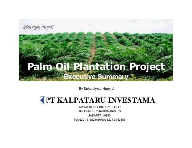 Palm Oil Plantation Project Executive Summary PT KALPATARU INVESTAMA WISMA KOSGORO 15th FLOOR JALAN M. H. THAMRIN KAV. 53 ...