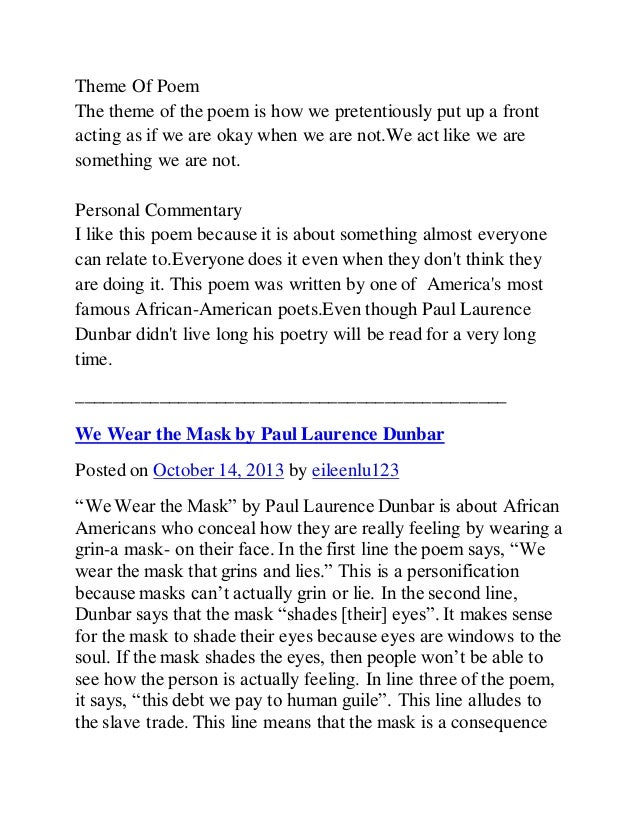 We Wear the Mask by Paul Laurence Dunbar | Poetry Foundation