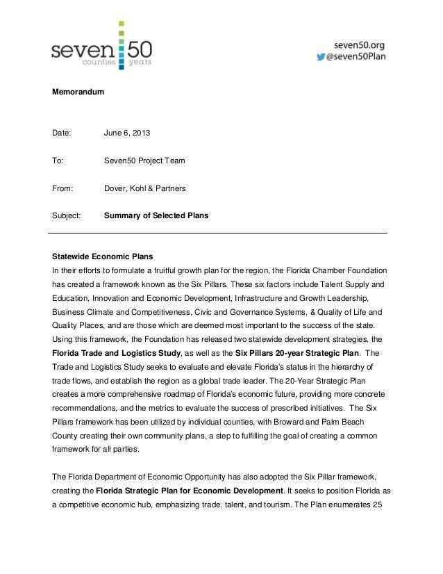 MemorandumDate: June 6, 2013To: Seven50 Project TeamFrom: Dover, Kohl & PartnersSubject: Summary of Selected PlansStatewid...