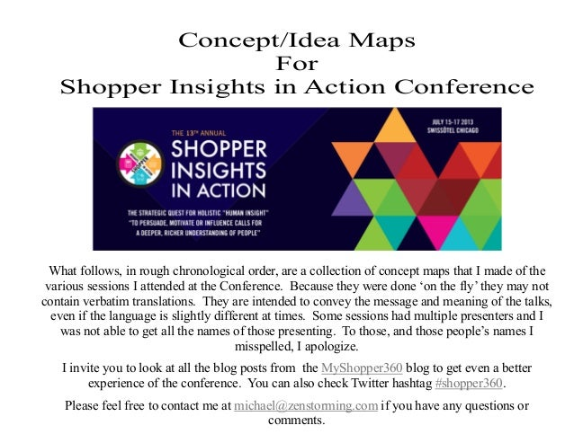 Concept/Idea Maps For Shopper Insights in Action Conference What follows, in rough chronological order, are a collection o...