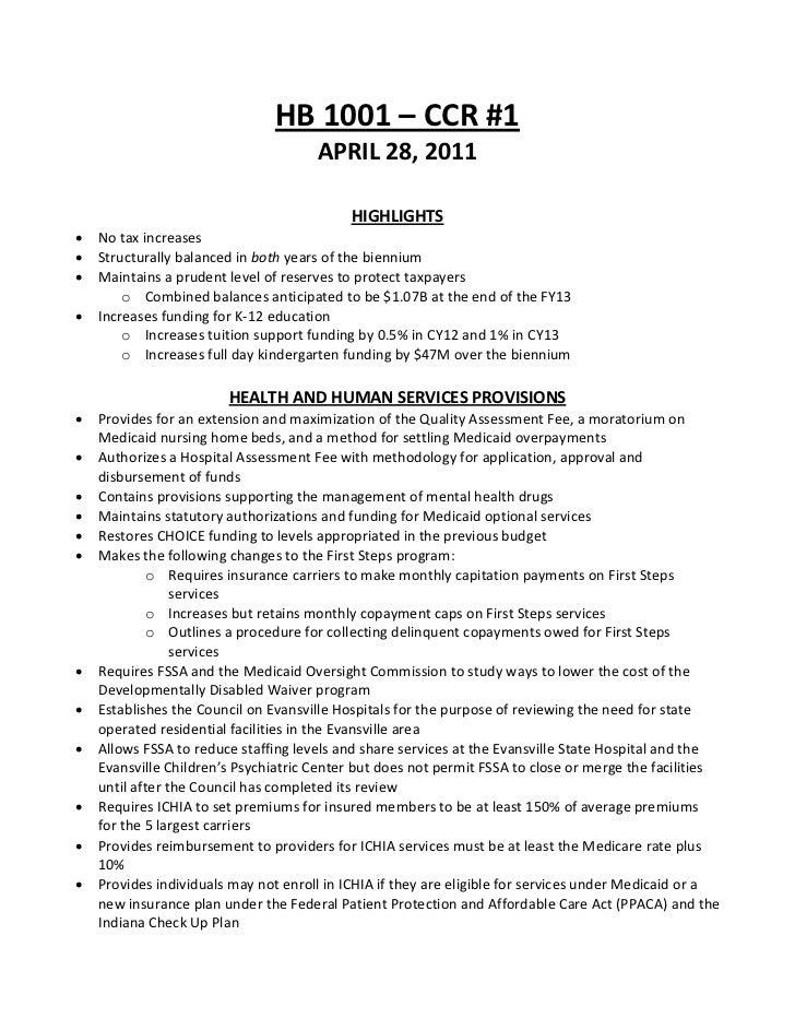 HB1001–CCR#1                                      APRIL28,2011                                            HIGHLI...