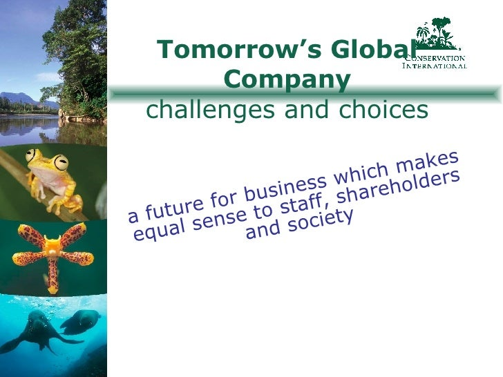 Tomorrow's Global Company challenges and choices a future for business which makes equal sense to staff, shareholders and ...