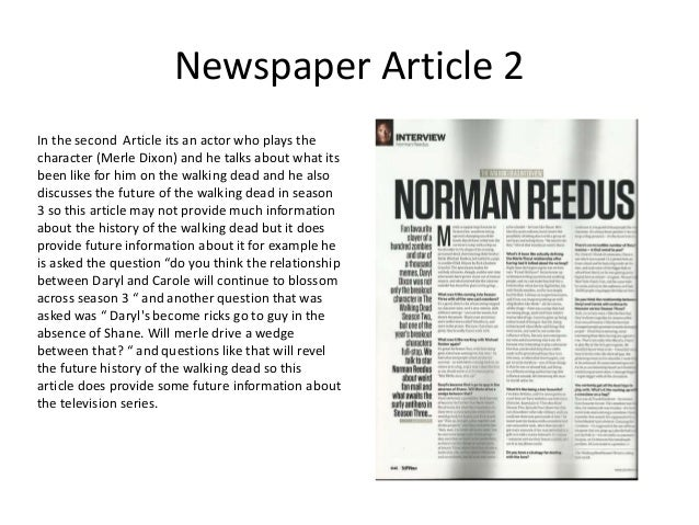 Summary of the 5 newspaper Articles i have found for the walking dead