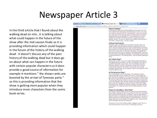 newspaper article summary reaction Article analysis assignment see summary sheet your answer to this should be based on what the author says in the introduction to the article.